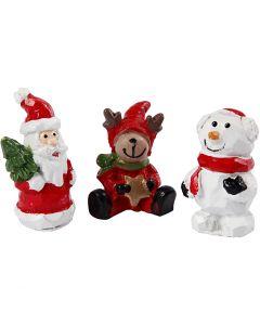 Miniatuur figuren, kerstman, rendier en sneeuwpop, H: 35 mm, L: 10 mm, 3 stuk/ 1 doos