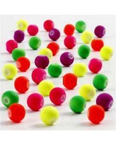 Neon kralen, d: 6 mm, gatgrootte 1,2 mm, 50 gr/ 1 doos