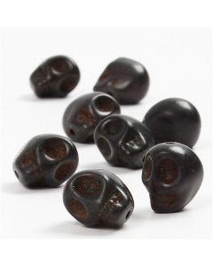 Howlite, d: 12 mm, gatgrootte 1,5 mm, zwart, 32 stuk/ 1 doos