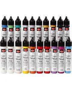 Kaarsversierpen, diverse kleuren, 20x28 ml/ 1 doos