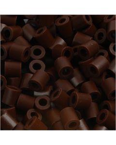Strijkkralen, afm 5x5 mm, gatgrootte 2,5 mm, medium, bruin (32229), 6000 stuk/ 1 doos