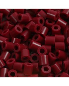 Strijkkralen, afm 5x5 mm, gatgrootte 2,5 mm, medium, wijnrood (32239), 1100 stuk/ 1 doos