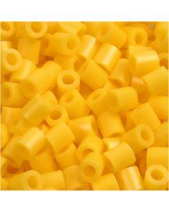 Strijkkralen, afm 5x5 mm, gatgrootte 2,5 mm, medium, geel (32227), 1100 stuk/ 1 doos