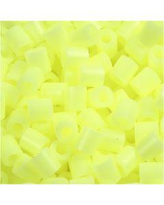 Strijkkralen, afm 5x5 mm, gatgrootte 2,5 mm, medium, pastel geel (32244), 1100 stuk/ 1 doos