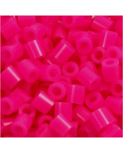 Strijkkralen, afm 5x5 mm, gatgrootte 2,5 mm, medium, cerise (32258), 1100 stuk/ 1 doos
