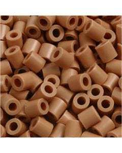 Strijkkralen, afm 5x5 mm, gatgrootte 2,5 mm, medium, lichtbruin (32260), 1100 stuk/ 1 doos