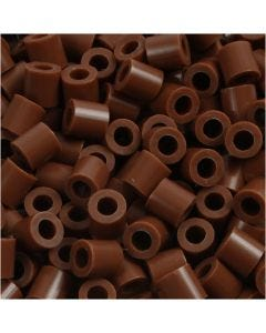 Strijkkralen, afm 5x5 mm, gatgrootte 2,5 mm, medium, chocolate (32249), 1100 stuk/ 1 doos