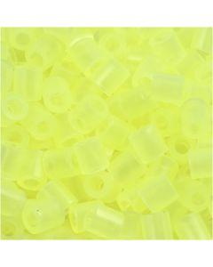 Strijkkralen, afm 5x5 mm, gatgrootte 2,5 mm, medium, neon geel (32223), 6000 stuk/ 1 doos