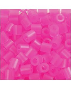 Strijkkralen, afm 5x5 mm, gatgrootte 2,5 mm, medium, roze neon (32257), 1100 stuk/ 1 doos