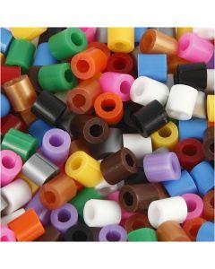 Strijkkralen met open zijkant, afm 5x5 mm, gatgrootte 2,5 mm, medium, standaardkleuren, 1100 div/ 1 doos