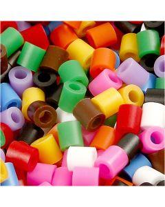 Strijkkralen, afm 5x5 mm, gatgrootte 2,5 mm, medium, standaardkleuren, 5000 div/ 1 doos