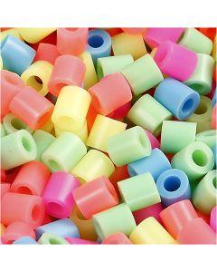 Strijkkralen, afm 5x5 mm, gatgrootte 2,5 mm, medium, pastelkleuren, 6000 div/ 1 doos