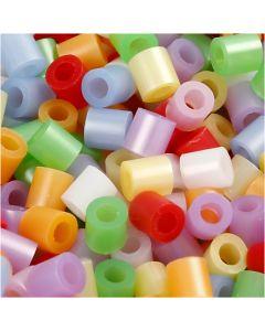 Strijkkralen, afm 5x5 mm, gatgrootte 2,5 mm, medium, parelmoer kleuren, 5000 div/ 1 doos