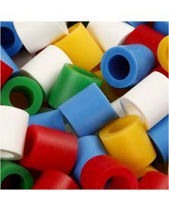 Strijkkralen, afm 10x10 mm, gatgrootte 5,5 mm, JUMBO, standaardkleuren, 3200 div/ 1 doos