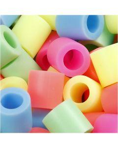 Strijkkralen, afm 10x10 mm, gatgrootte 5,5 mm, JUMBO, pastelkleuren, 550 div/ 1 doos