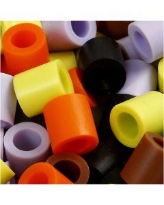 Strijkkralen, afm 10x10 mm, gatgrootte 5,5 mm, JUMBO, herfst mix, 2450 div/ 1 doos