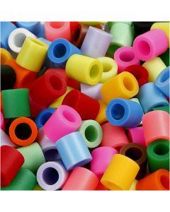 Strijkkralen, afm 10x10 mm, gatgrootte 5,5 mm, JUMBO, extra kleuren, 3200 div/ 1 doos