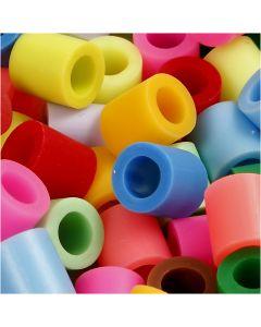 Strijkkralen, afm 10x10 mm, gatgrootte 5,5 mm, JUMBO, diverse kleuren, 2450 div/ 1 emmer
