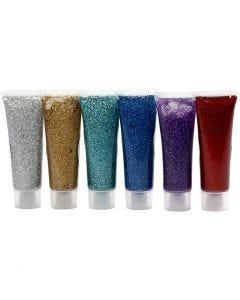 Glitter Gel, diverse kleuren, 6x18 ml/ 1 doos