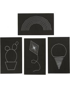String Art , afm 20x12 cm, dikte 10 mm, zwart, 16 stuk/ 1 doos