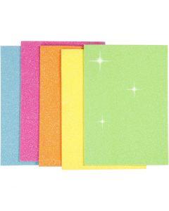 EVA foam vellen, A5, 150x210 mm, dikte 2 mm, diverse kleuren, 5 vel/ 1 doos