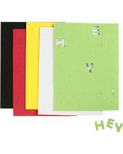 EVA foam Letters & Cijfers, afm 2-2,3 cm, diverse kleuren, 5 vel/ 1 doos