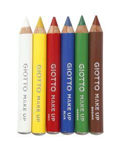 Schmink potloden, L: 9 cm, standaardkleuren, 6 stuk/ 1 doos
