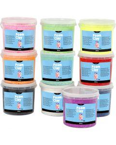 Foam Clay®, glitter, diverse kleuren, 10x560 gr/ 1 doos