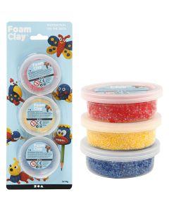 Foam Clay®, blauw, rood, geel, 3x14 gr/ 1 doos