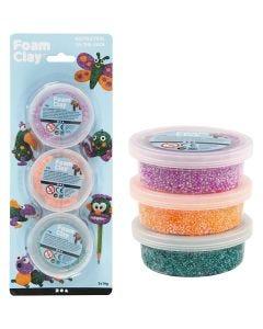Foam Clay®, groen, neon oranje, paars, 3x14 gr/ 1 doos