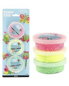 Foam Clay®, lichtgroen, neon roze, neon geel, 3x14 gr/ 1 doos