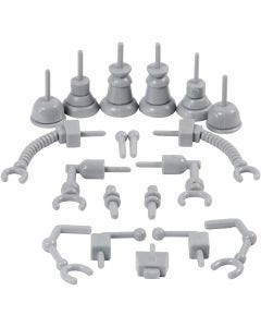Robot onderdelen, afm 0,5-6 cm, grijs, 19 stuk/ 1 doos