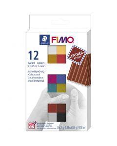 FIMO® Leather Effect , diverse kleuren, 12x25 gr/ 1 doos