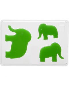 Gietmal, olifant, H: 6+8+10 cm, afm 14,9x22 cm, 1 stuk