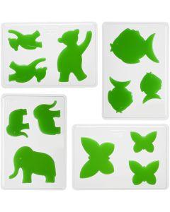 Gietmal, dieren, H: 6+8+10 cm, afm 14,9x22 cm, 4 stuk/ 1 doos