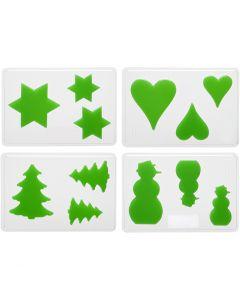 Gietmal, Kerst, H: 6+8+10 cm, afm 14,9x22 cm, 4 stuk/ 1 doos