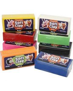 Soft Clay, afm 13x6x4 cm, diverse kleuren, 8x500 gr/ 1 doos