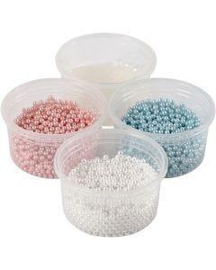 Pearl Clay®, lichtblauw, lichtrood, off-white, 1 set, 3x25+38 gr