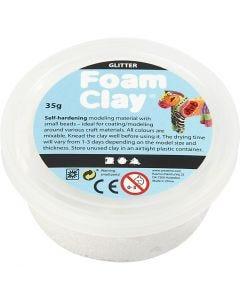 Foam Clay®, glitter, wit, 35 gr/ 1 Doosje