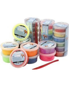 Foam Clay®, glitter, diverse kleuren, 28 Doosje/ 1 doos