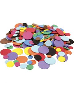 EVA Foam cirkels, d: 12+20+32 mm, diverse kleuren, 2120 div/ 1 doos