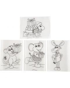 Krimpfolie met motieven, 10,5x14,5 cm, mat transparant, 36 vel/ 1 doos