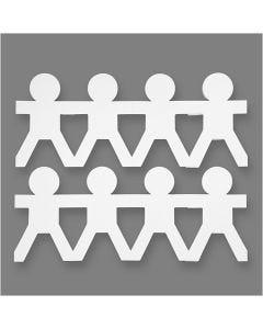 Jongens van karton, H: 12 cm, L: 45 cm, 230 gr, wit, 16 stuk/ 1 doos