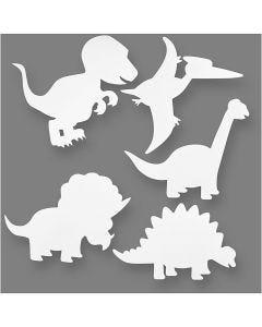 Dinosaurussen, H: 15-22 cm, B: 24-25 cm, 230 gr, wit, 16 stuk/ 1 doos