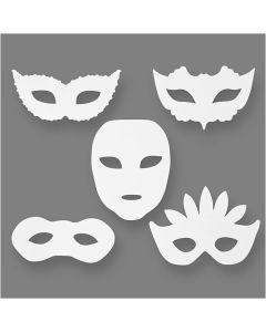 Theatermaskers, H: 8,5-19 cm, B: 15-20,5 cm, 230 gr, wit, 16 stuk/ 1 doos