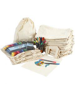 Rugzakken en tassen met stiften, afm 27,5x30 cm, diverse kleuren, 1 set