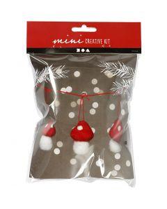 Creative mini kit, hangende paddestoelen, H: 5.5 cm, 3 stuk/ 1 set