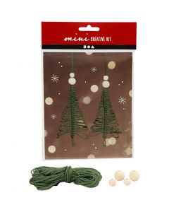 Creative mini kit, macramé kerstboom, H: 11 cm, 2 stuk/ 1 set