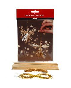 Creative mini kit, engel van stro, H: 8 cm, 2 stuk/ 1 set