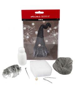 Creative mini kit, Kerst gnoom, H: 13 cm, grijs mix, 1 stuk/ 1 set